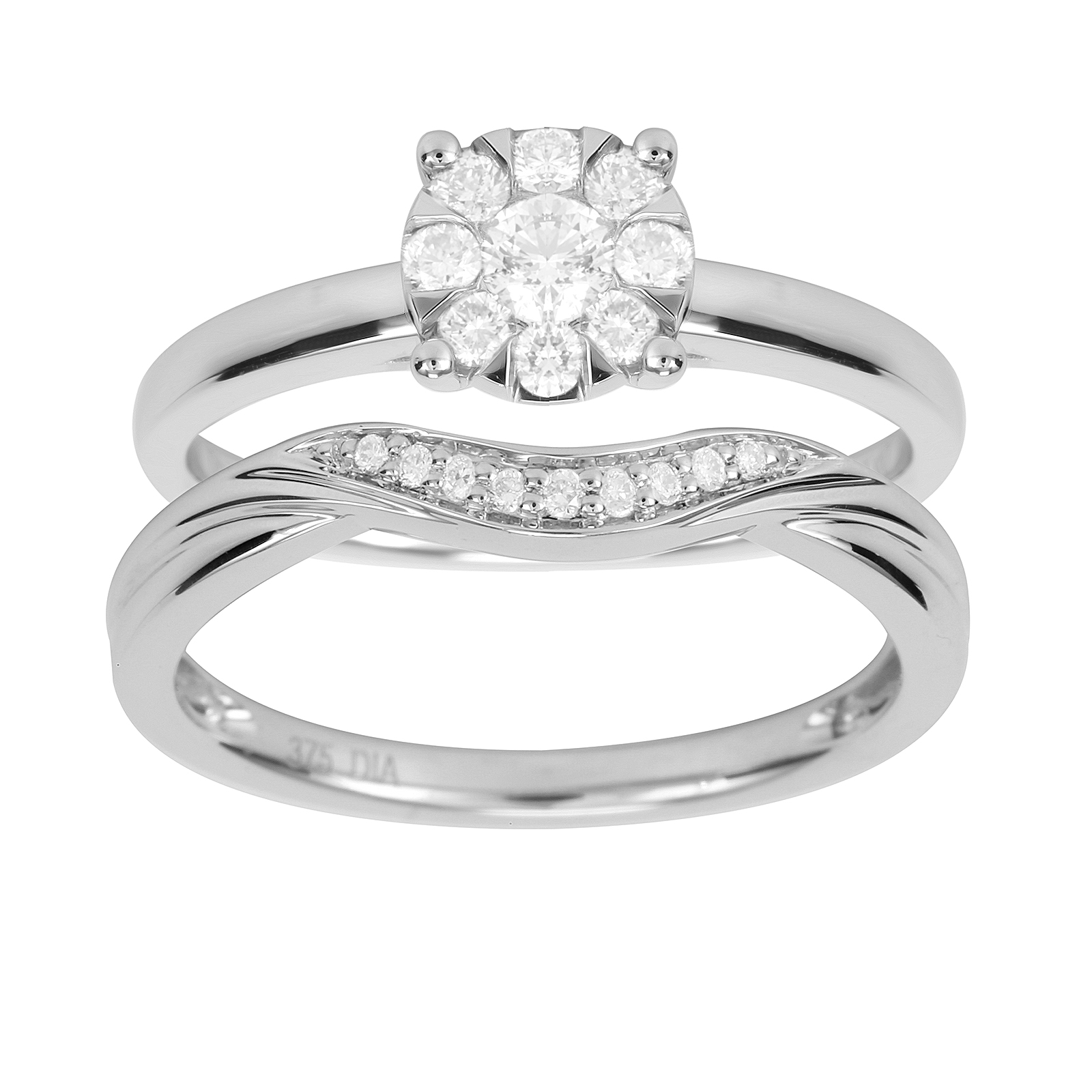 9ct White Gold 0.50ct Cluster Bridal Set - Ring Size K