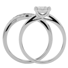 9ct White Gold 0.50ct Cluster Bridal Set