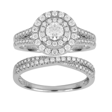 18ct White Gold 1.00ct Double Halo Bridal Set