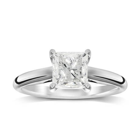 18ct White Gold 1.00ct Princess Cut Solitaire Ring