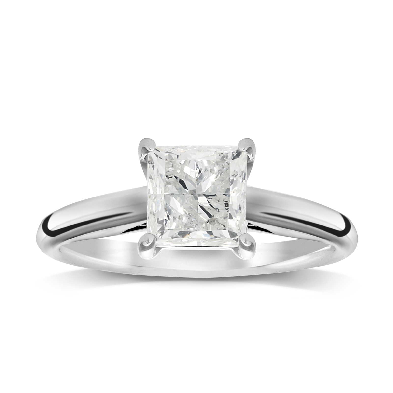 18ct White Gold 1.00ct Princess Cut Solitaire Ring - Ring Size J
