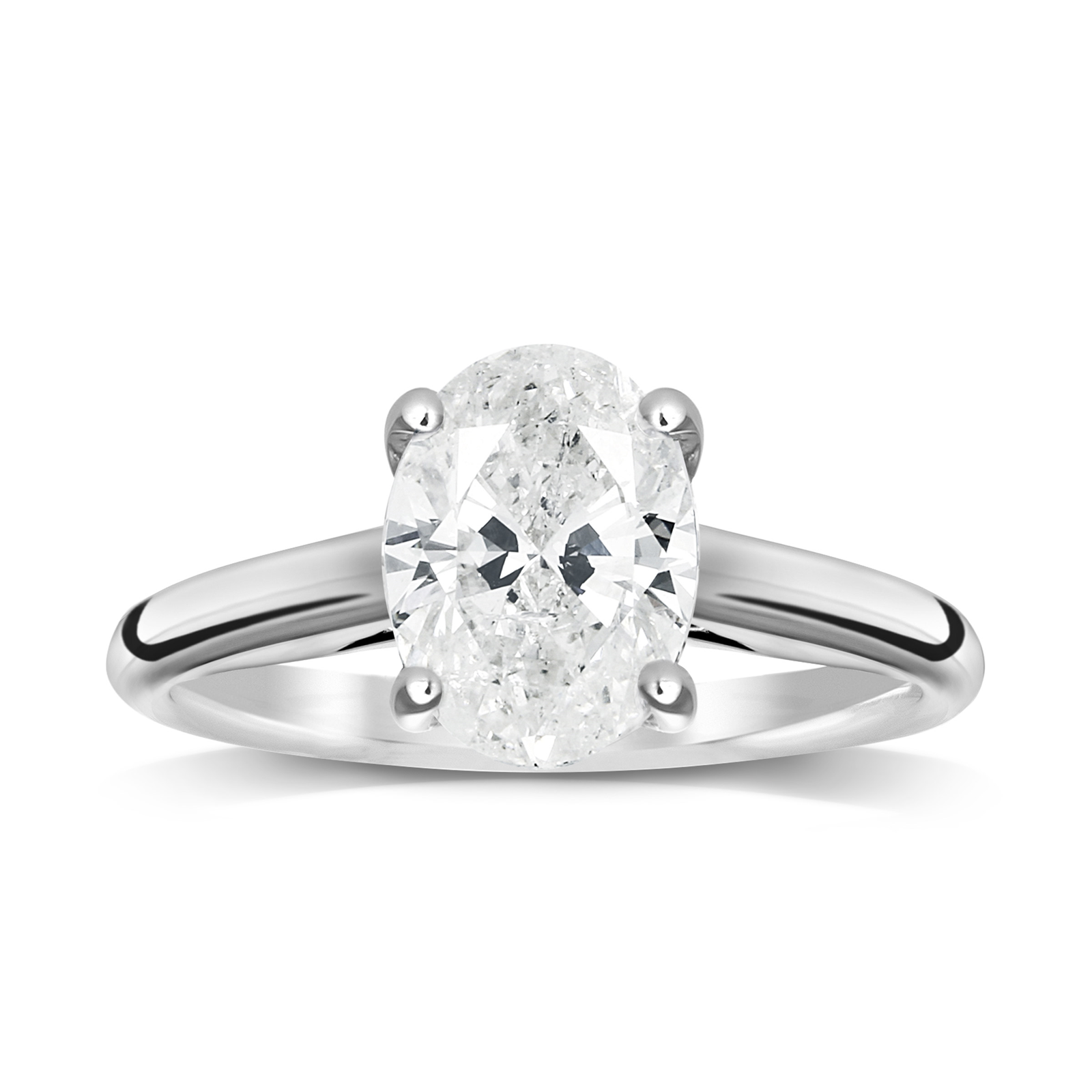 18ct White Gold 1.00ct Oval Cut Solitaire Ring - Ring Size J