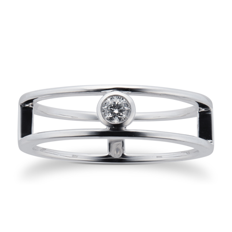 Gossamer Silver 0.10ct Diamond Double Ring