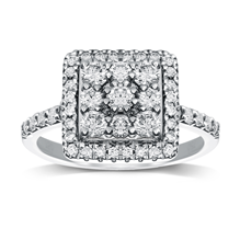 9ct White Gold 1.00ct Princess Cut Cluster Ring