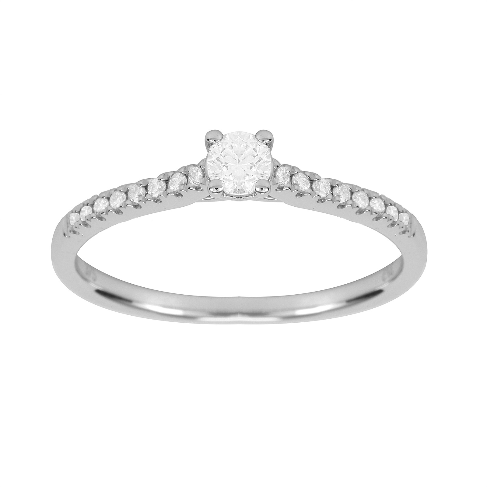 9ct White Gold 0.38cttw Diamond Claw Set Engagement Ring - Ring Size J