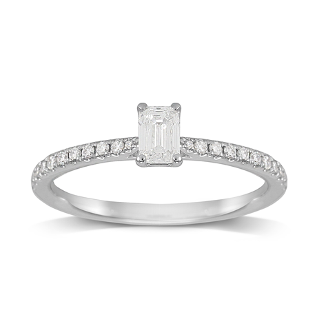 Constance Platinum Emerald Cut 0.44cttw Engagement Ring