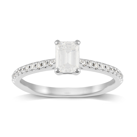 Constance Platinum Emerald Cut 0.64cttw Engagement Ring