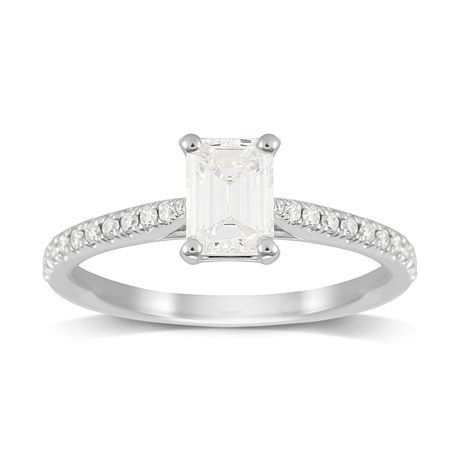 Constance Platinum Emerald Cut 0.84cttw Engagement Ring