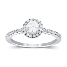 18ct White Gold 0.50ct Brilliant Cut Diamond Halo Ring