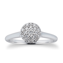 9ct White Gold 0.25cttw Diamond Round Cluster Ring