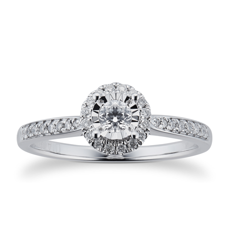 9ct White Gold  0.20ct Diamond Halo Illusion Ring