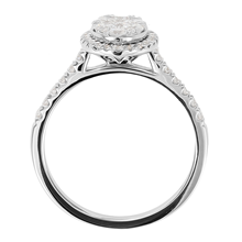 18ct White Gold 0.75ct Diamond Oval Cluster Engagement Ring