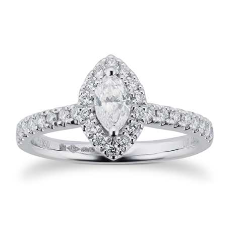 Platinum 0.60ct Diamond Marquise Cut Halo Engagement Ring
