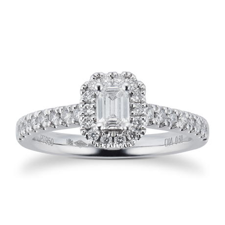 Platinum 0.60ct Diamond Emerald Cut Halo Engagement Ring