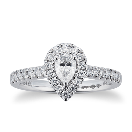 Platinum 0.60ct Diamond Pear Cut Halo Engagement Ring