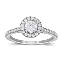 9ct White Gold 0.70cttw Diamond Halo Engagement Ring - M06018318