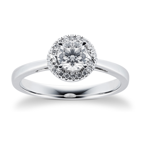 Platinum 0.55cttw Diamond Halo Engagement Ring