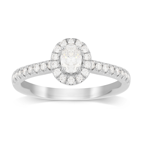Platinum 0.60cttw DIamond Oval Cut Halo Engagement Ring