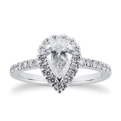 Platinum 0.85cttw Diamond Pear Cut Halo Engagement Ring