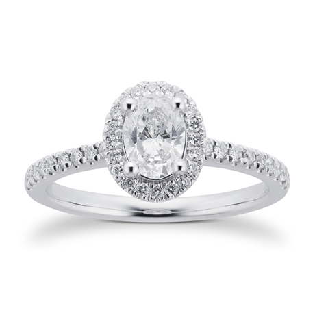 Platinum 0.74cttw Diamond Oval Halo Engagement Ring