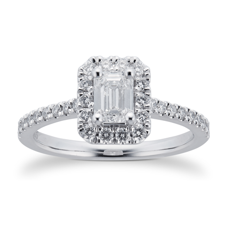 Platinum 0.80cttw Diamond Emerald Cut Halo Engagement Ring