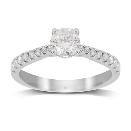 18ct White Gold 0.85ct Diamond Solitaire with Diamond Set Shoulders