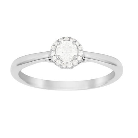 Brilliant Cut 0.33 Carat Total Weight Diamond Ring in Platinum