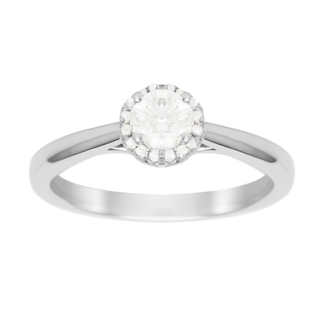 Brilliant Cut 0.50 Carat Total Weight Diamond Ring in Platinum