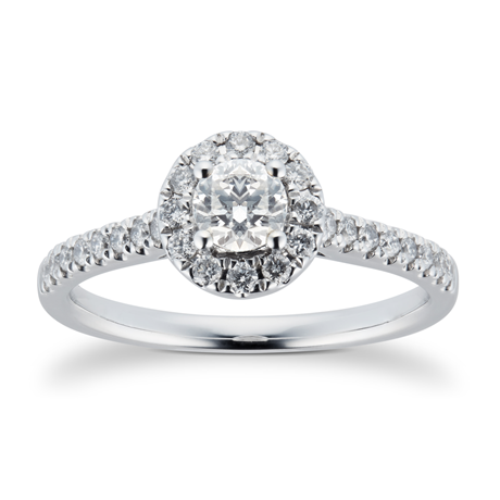 18ct White Gold 0.70cttw Diamond Halo Engagement Ring