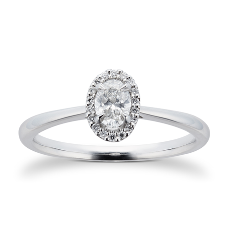 Platinum 0.28cttw Diamond Oval Halo Engagement Ring