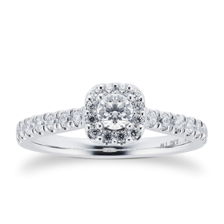 18ct White Gold 0.60cttw Diamond Halo Engagement Ring
