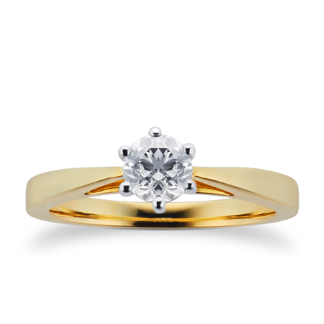 18ct Yellow Gold 0.40ct Diamond 6 Claw Soliatire Ring