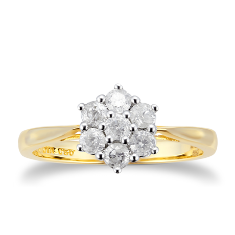 9ct Yellow Gold 0.50cttw Diamond Cluster Ring