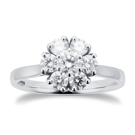 Brilliant Cut 0.80 Carat Total Weight Diamond Flower Cluster Ring in Platinum