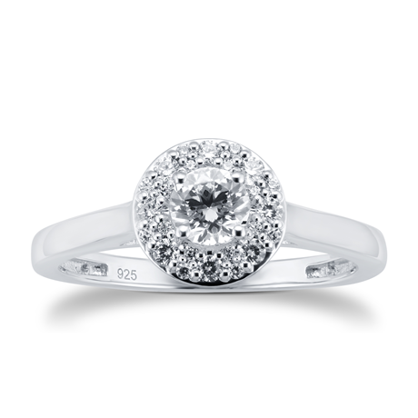 18ct White Gold 0.50cttw Diamond Halo Ring