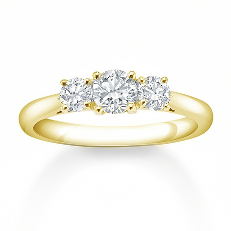 Mappin & Webb 18 Carat Yellow Gold 0 50 Carat 3 Stone Claw Set