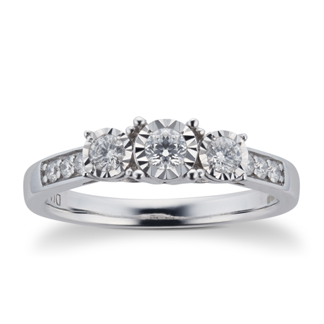 Brilliant Cut 0.33 Carat Total Weight Three Stone Diamond Ring with Diamond Set Shoulders in 9 Carat White Gold