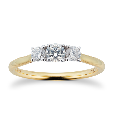 Brilliant Cut 3 Stone 0.50 Carat Diamond Engagement Ring in 18 Carat Yellow Gold