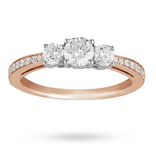 Brilliant Cut 0.50 Total Carat Weight Three Stone And Diamond Set Shoulders Ring Set In 18 Carat Rose Gold