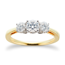 18ct Yellow Gold 1.00 Carat Three Stone 88 Facet Diamond Ring