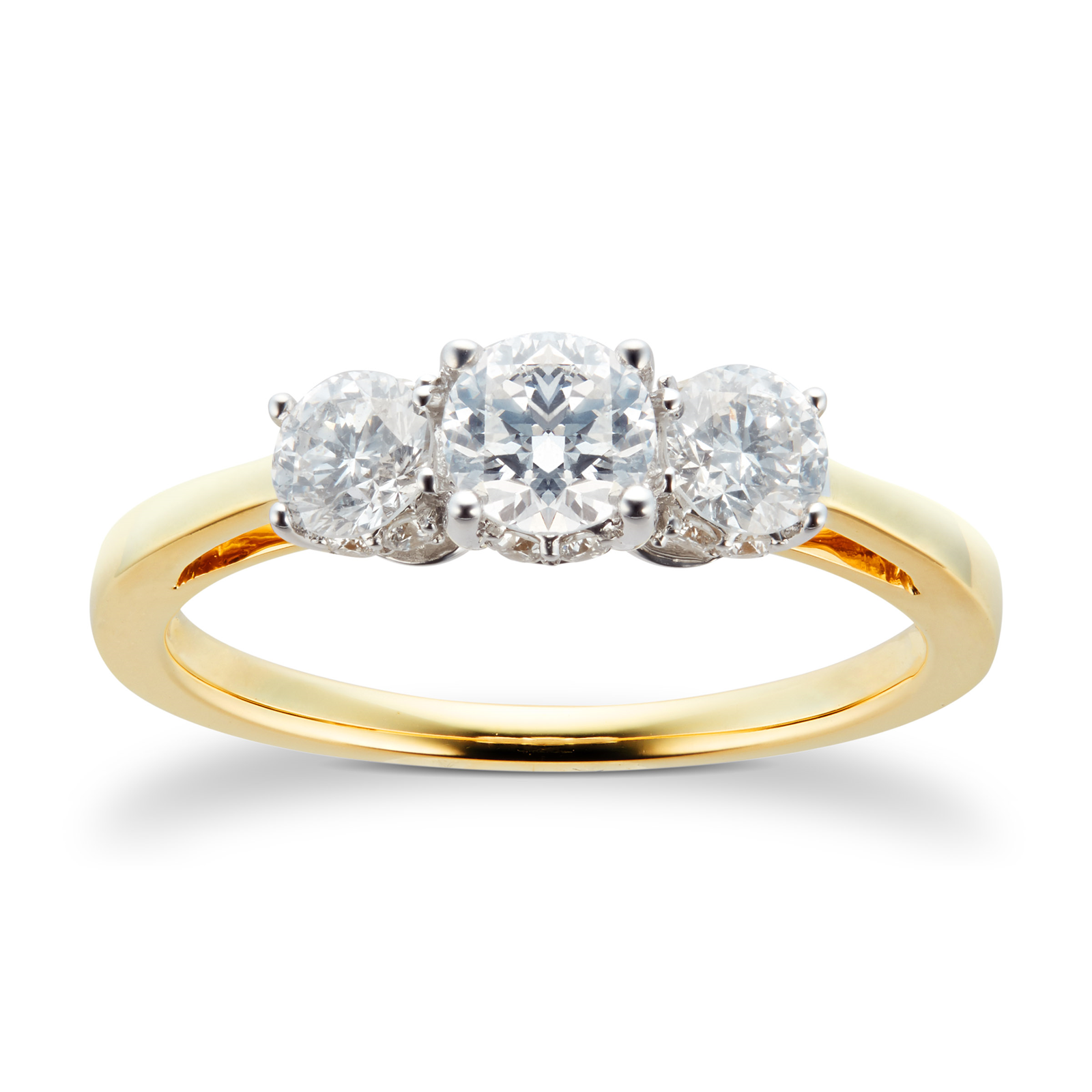 15db4fe688d7d4 18ct Yellow Gold 1.00 Carat Three Stone 88 Facet Diamond Ring | Rings |  Jewellery | Goldsmiths