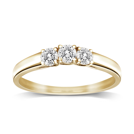 18ct Yellow Gold 0.50ct Brilliant Cut Diamond Three Stone Ring