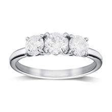 Platinum 1.00cttw Diamond Three Stone Engagement Ring - M06030968