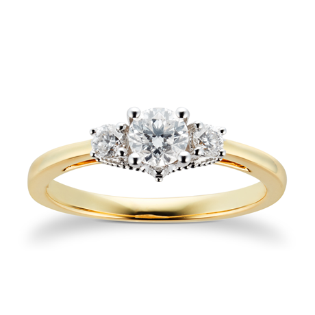 18ct Yellow Gold 0.50cttw Goldsmiths Brightest Diamond Three stone Engagement Ring