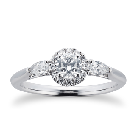 Platinum 0.55cttw Diamond Brilliant Cut Halo & Pear Shoulders Engagement Ring