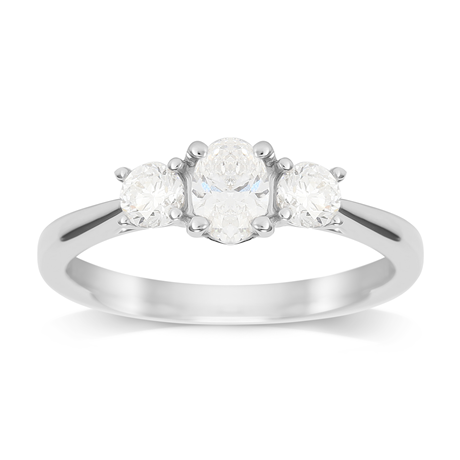 Platinum 0.76cttw Diamond Thee Stone Oval & Brilliant Cut Engagement Ring