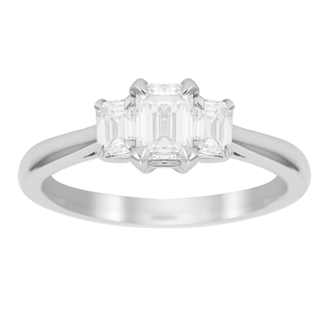 Belvedere Platinum 1.00cttw Emerald Cut 3 Stone Engagement Ring