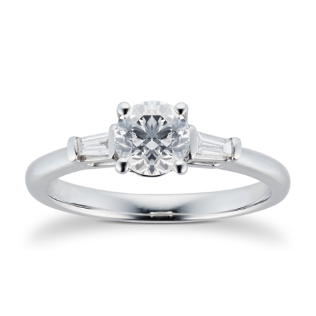 18ct White Gold 0.80cttw Round & Baguette Diamond Engagement Ring