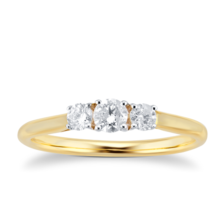 9ct Yellow Gold 0.25cttw Three Stone Diamond Ring