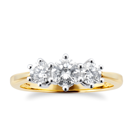 18ct Yellow Gold 0.75ct Brilliant Cut Diamond Three Stone Ring